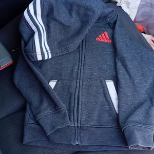 Adidas gray and red zipup hoodie size 3t